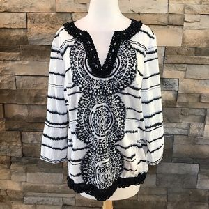 August Silk black and white top